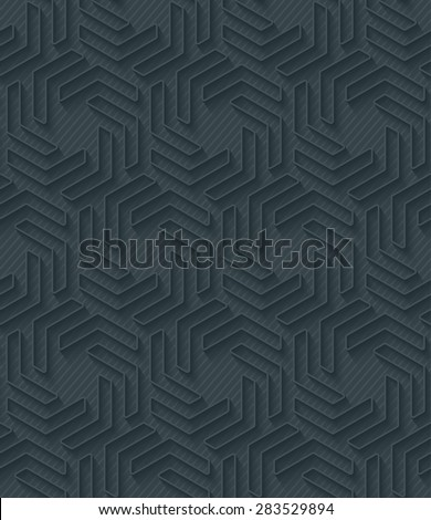 Dark perforated paper with outline extrude effect. 3d seamless wallpaper. Vector background EPS10. - stock vector