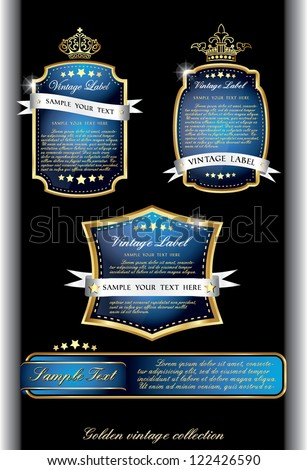 dark piano black collection of vintage alcohol wine labels - stock vector