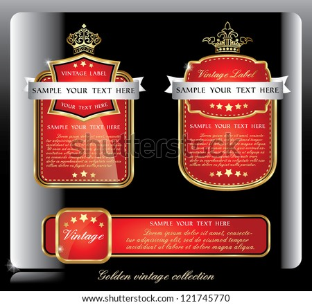 dark piano red collection of vintage alcohol wine labels - stock vector