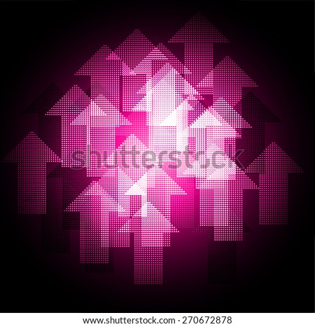 Dark pink arrow Abstract light lamps background for Technology computer graphic website internet and business.. Screen on stage. Vector illustration. Spot Effect. neon. point. dot - stock vector