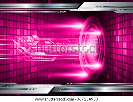 dark pink silver Light Abstract Technology background for computer graphic website internet and business. circuit. illustration.digital.infographics. binary code. zero one. eye. scan virus - stock vector