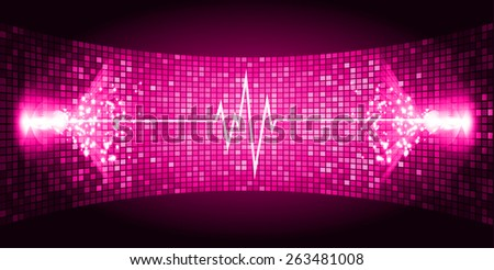 Dark Pink Sound wave background suitable as a backdrop for music, technology and sound projects. Blue Heart pulse monitor with signal. Heart beat. - stock vector