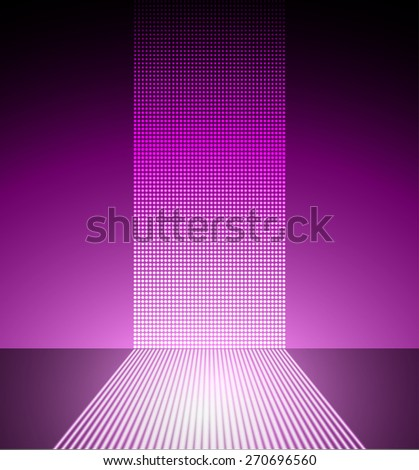 Dark purple Abstract light lamps background for Technology computer graphic website internet and business.. Screen on stage. Vector illustration. Spot Effect. neon. point. dot - stock vector