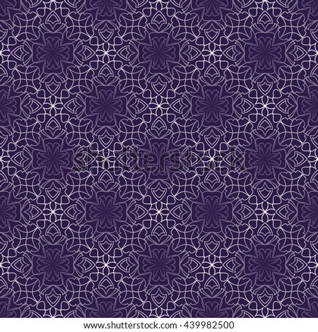 Dark purple abstract vintage background with rhomboid lace patterns. Seamless white vector ornament in diagonal stripes - stock vector
