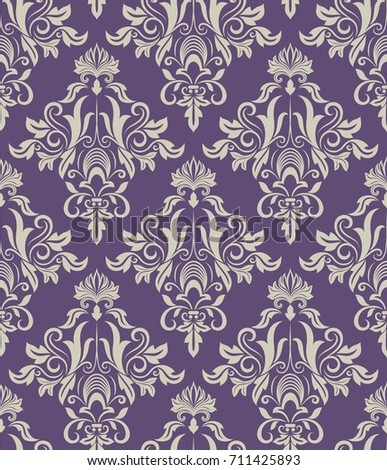 Dark Purple And Beige Vintage Wallpaper Pattern Vector Illustration
