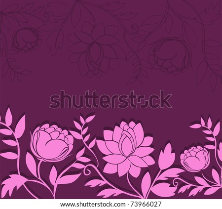 Dark purple background with a horizontal pink flowers
