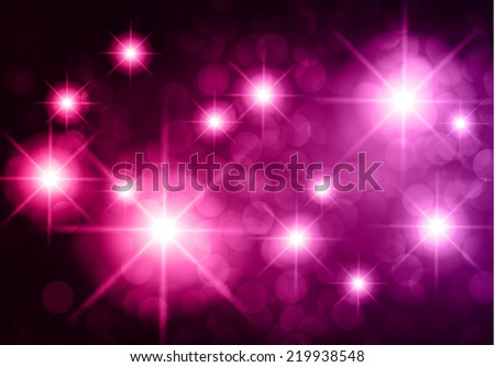 Dark purple pink sparkling background with stars in the sky and blurry lights, illustration. Abstract, Universe, Galaxies. - stock vector