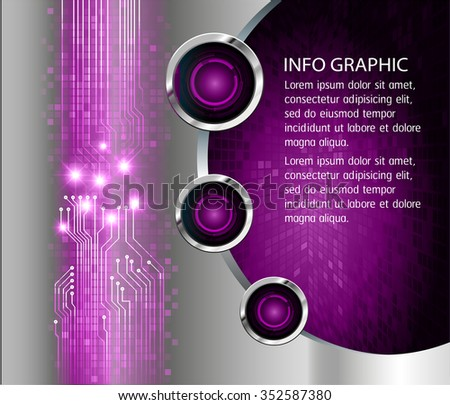Dark purple silver Light Abstract Technology background for computer graphic website internet and business. circuit. vector illustration. infographics. pixel. text box banner card  template.
