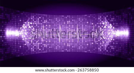 Dark purple Sound wave background suitable as a backdrop for music, technology and sound projects. Heart pulse monitor with signal. Heart beat. - stock vector