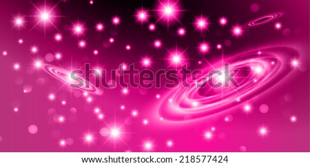 Dark purple sparkling background with stars in the sky and blurry lights, illustration. Abstract, Universe, Galaxies, ring.  - stock vector