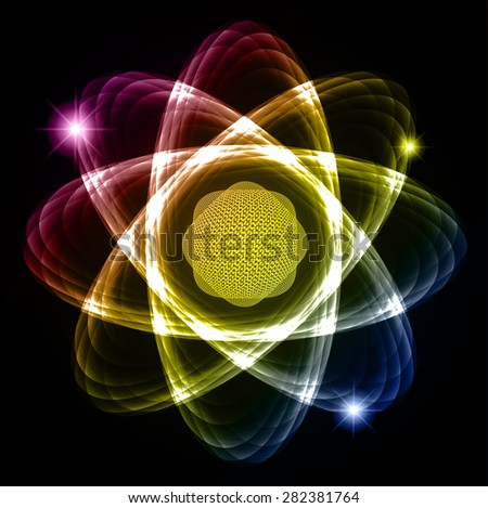 Dark purple yellow blue Shining atom scheme. Vector illustration. dark background. digital. infographics. Abstract Technology background for computer graphic website internet and business. circuit. - stock vector