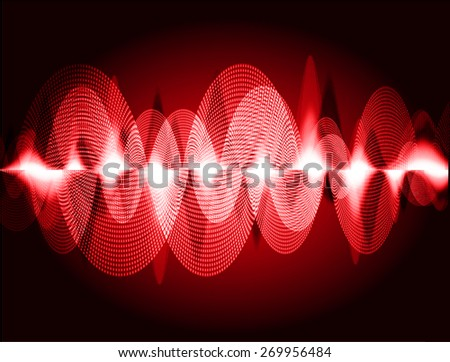 dark red abstract digital sound wave background. Light Technology background for computer graphic website internet. - stock vector