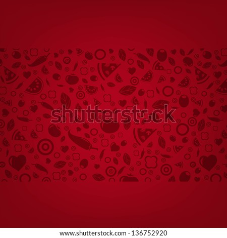 Dark Red Background With Food Icons With Gradient Mesh, Vector Illustration - stock vector