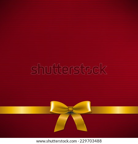 Dark Red Card With Golden Ribbon With Gradient Mesh, Vector Illustration - stock vector