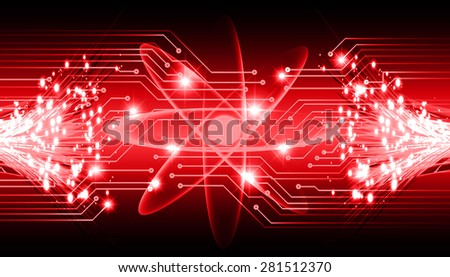 dark red color Light Abstract Technology background for computer graphic website internet and business.circuit. vector illustration. Security. Nuclear, proton, neutron, nucleus. atom. molecular.Spark - stock vector