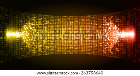 Dark red orange Sound wave background suitable as a backdrop for music, technology and sound projects. Heart pulse monitor with signal. Heart beat. - stock vector