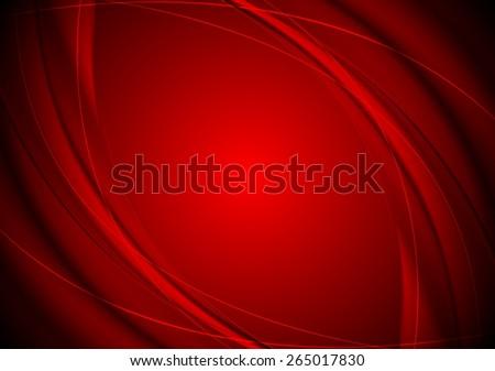 Dark red smooth wavy background. Vector design - stock vector