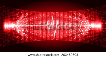 Dark red Sound wave background suitable as a backdrop for music, technology and sound projects. Blue Heart pulse monitor with signal. Heart beat.