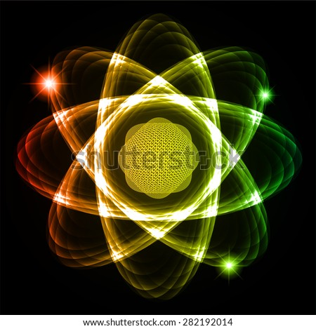 Dark red yellow green Shining atom scheme. Vector illustration. dark background. digital. infographics. Abstract Technology background for computer graphic website internet and business. circuit. - stock vector