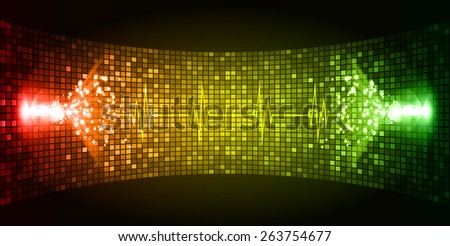 Dark red yellow green Sound wave background suitable as a backdrop for music, technology and sound projects. Blue Heart pulse monitor with signal. Heart beat.