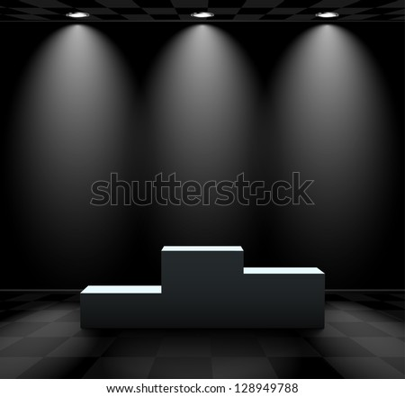 Dark room with lights over the pedestal - stock vector