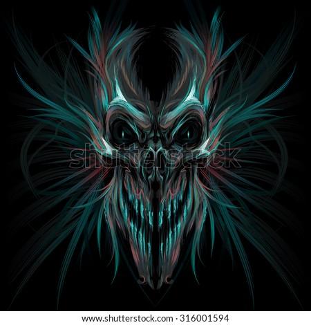 Dark screaming skull. Vector illustration - stock vector