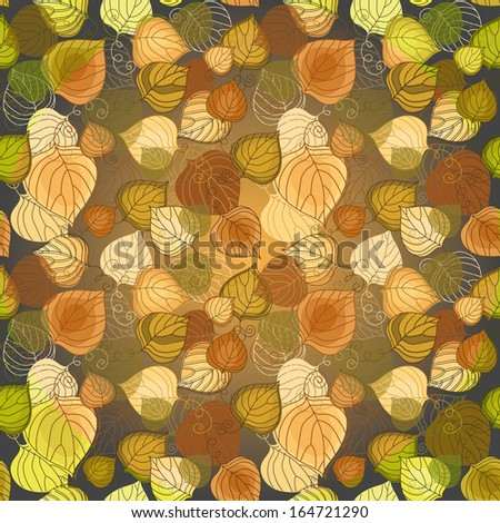 Dark seamless pattern with colorful leaves (vector eps 10) - stock vector