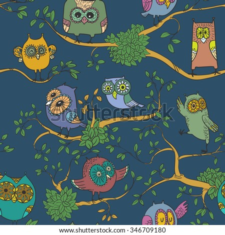 Dark seamless pattern with owls on the branches - stock vector