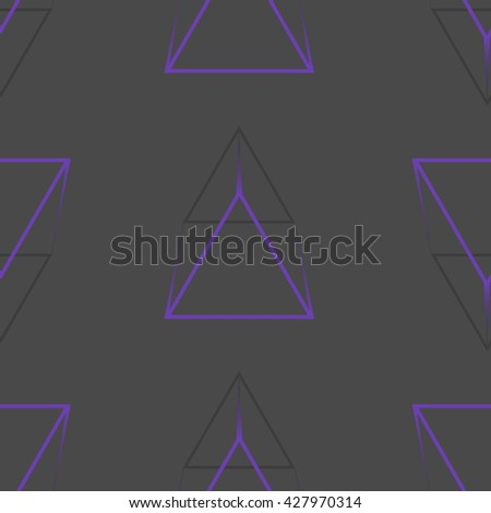 Dark seamless pattern with purple triangles. Abstract texture for your design.