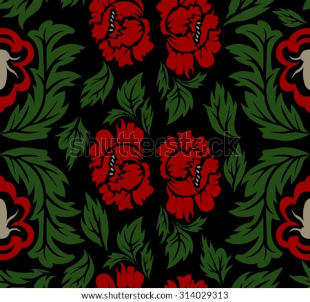 Dark Seamless Pattern With Red Flowers And Green Leaves Good For Wallpapers Page Filling