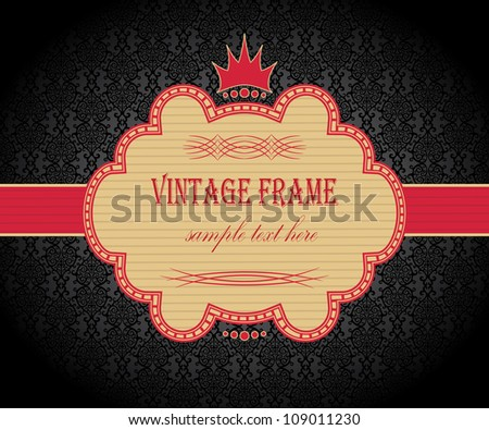 Dark seamless wallpaper with elegant frame in red