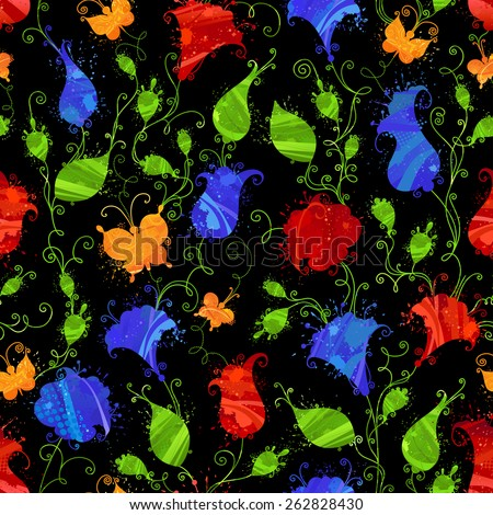 Dark seamless watercolor pattern. Grunge textile or wallpaper floral pattern with bright red and blue flowers, yellow butterflies on black background.  - stock vector