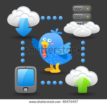 Dark series | blue bird with computing device - stock vector