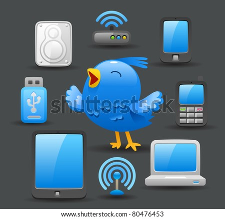 Dark series | blue bird with computing device - stock vector
