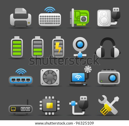 Dark series | Computer Gadgets icon set - stock vector