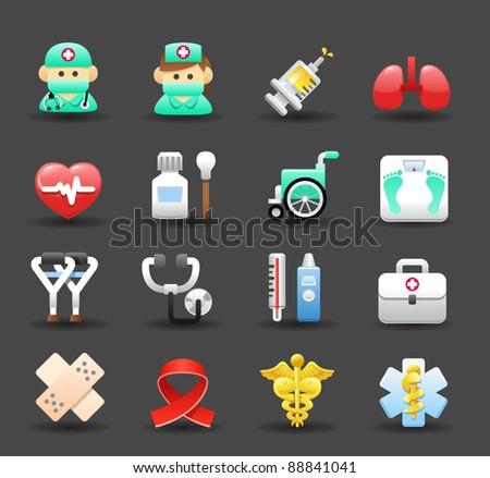 Dark series | Medical ,Emergency ,health care icons set - stock vector
