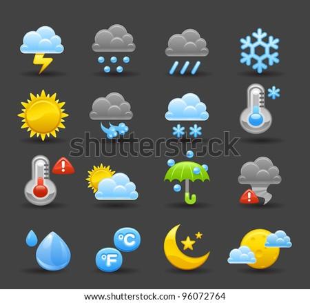Dark series   weather icon set - stock vector