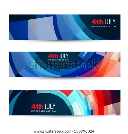 dark set of american independence day headers - stock vector