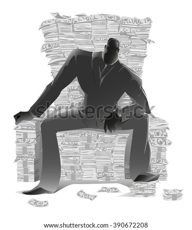 Dark silhouette, businessman in a suit sitting on a lot of money in the form of a throne, a symbol of the global economic crisis, currency growth and the development of business, vector black, white - stock vector