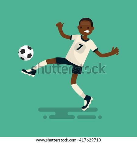 Dark-skinned soccer player scores a goal. Vector illustration - stock vector