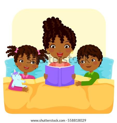 dark skinned woman reading bedtime story stock vector