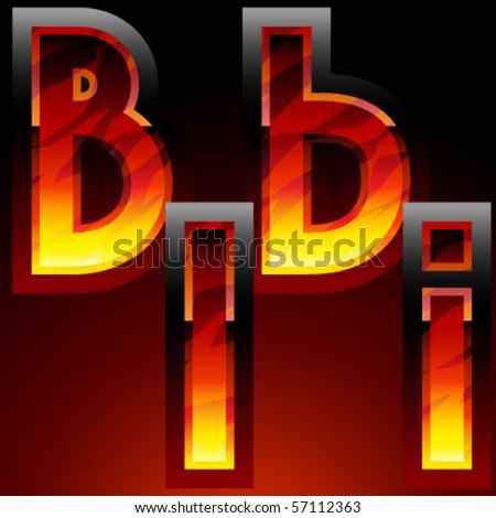 Dark style burning characters - stock vector