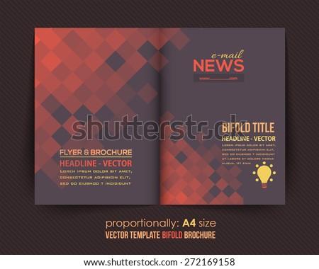 Dark Style Business Bi-Fold Brochure Design. Corporate Leaflet, Cover Template - stock vector