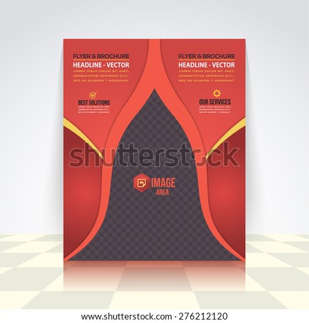 Dark Style, Red Colors Business Concept Flyer, Brochure Design. Corporate Leaflet, Cover Template Design - stock vector