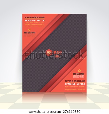 Dark Style, Red Colors Business Concept Flyer, Brochure Design. Corporate Leaflet, Cover Template - stock vector