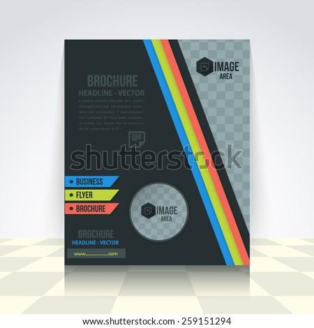 Dark Style Vector Elements Business Concept Flyer, Brochure Design. Corporate Leaflet, Cover Template - stock vector