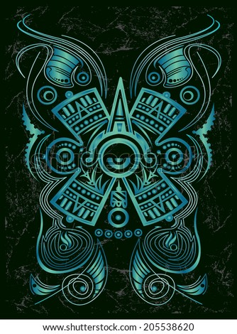Dark Stylized Mayan symbol - tattoo, vector illustration - surf style  - stock vector