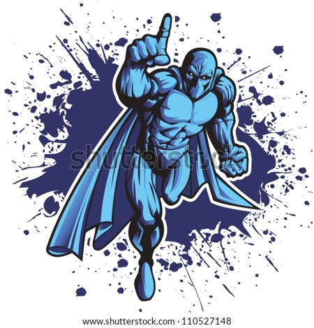 Dark superhero or villain charging forward. Put your logo on his chest! - stock vector