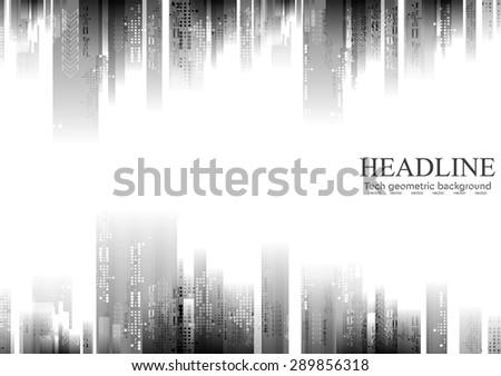 Dark tech abstract background. Vector design - stock vector