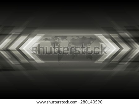 Dark technical background with map and arrows. Vector design template - stock vector